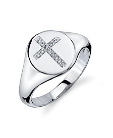 Silver Plated Cubic Zirconia Cross Signet Ring