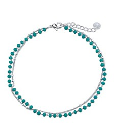 Double Strand Silver Plated Turquoise Bead Anklet