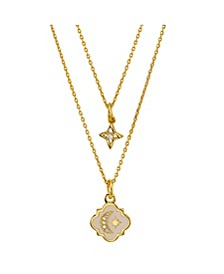 Gold Flash Plated White Enamel Moon and Star Layered Pendant Necklace with Mini Cubic Zirconia Star Pendant