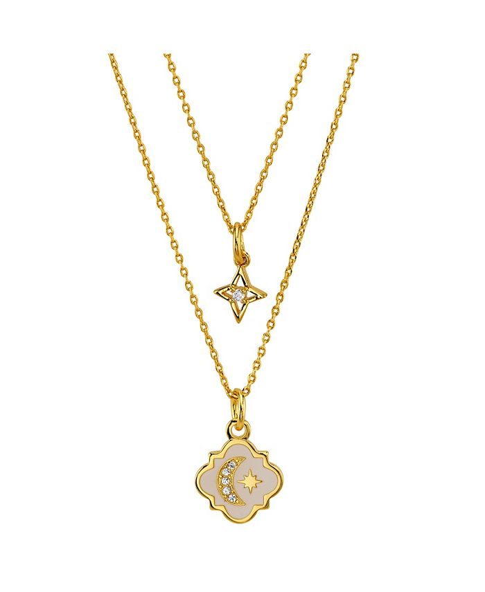 Unwritten - Gold Flash Plated White Enamel Moon and Star Layered Pendant Necklace with Mini Cubic Zirconia Star Pendant