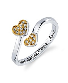 "Silver Plated Cubic Zirconia Double Heart ""Two Hearts One Love"" Wrap Around Ring"