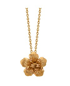 "Gold Flash Plated Clear Cubic Zirconia Flower Pendant Necklace, 16""+2"" Extender by David Tutera Everyday Celebrations"