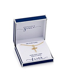 Gratitude & Grace Fine Silver Plated Cubic Zirconia Cross Pendant Necklace