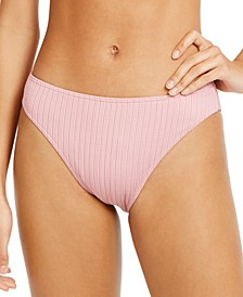 Juniors' Stay Golden Solid Textured Bikini Bottoms