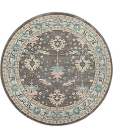 "Peace PEA10 Gray, Pink 5'3"" Round Area Rug"