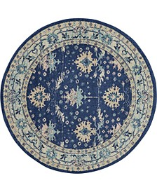 "Peace PEA10 Navy 5'3"" Round Area Rug"