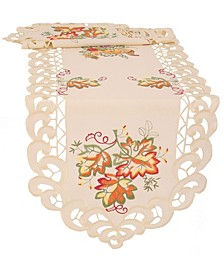 "Thankful Leaf Embroidered Cutwork Fall Table Runner 72""x15"""