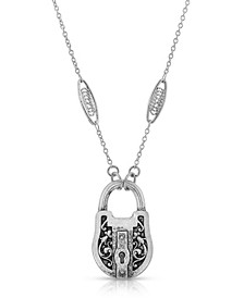 Antique-like Pewter Lock Pendant Necklace