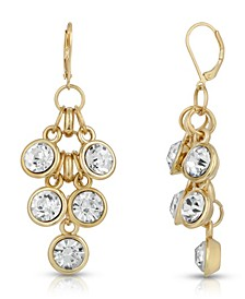 Gold-Tone Crystal Cluster Drop Earrings
