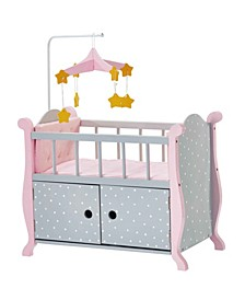 Polka Dots Princess Baby Doll Nursery Bed with Cabinet