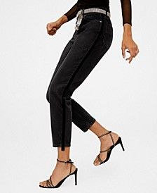Mom-Fit Side Band Jeans