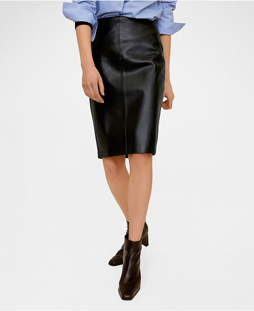 MANGO Faux Leather Pencil Skirt