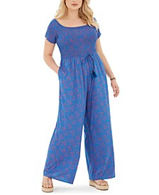 Trendy Plus Size Printed Ruched-Bodice Jumpsuit