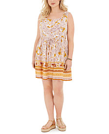 Band of Gypsies Trendy Plus Size Mixed-Print Dress