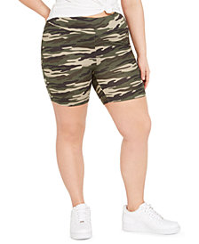 Full Circle Trends Trendy Plus Size Camo-Print Biker Shorts