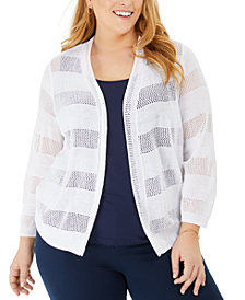 Charter Club Plus Size Pointelle Stripe Cardigan Sweater, Created for Macy's