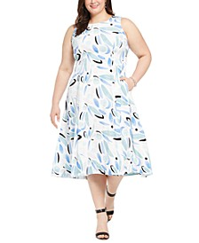 Plus Size Flared Midi Dress, Created for Macy's