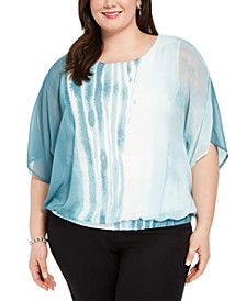 Plus Size Batwing-Sleeve Blouse, Created for Macy's