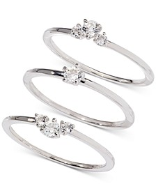 Silver-Tone 3-Pc. Set Crystal Rings