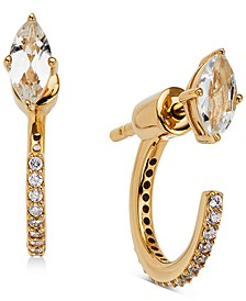 18k Gold-Plated Cubic Zirconia Marquise & Hoop Front & Back Earrings