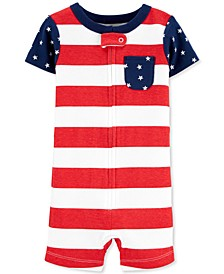 Baby Boys or Girls Red, White & Blue Cotton Pajamas