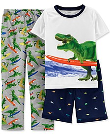 Little & Big Boys 3-Pc. Surfer T-Rex Pajamas