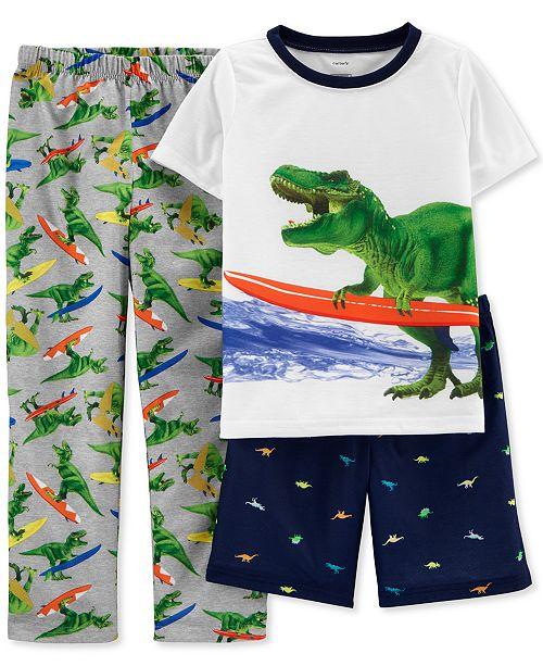 Carter's Little & Big Boys 3-Pc. Surfer T-Rex Pajamas