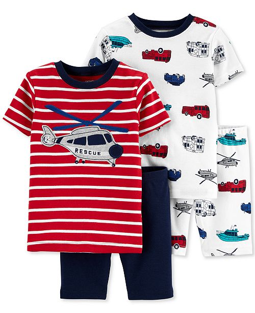 Carter's Toddler Boys 4-Pc. Helicopter Graphic Cotton Pajamas Set
