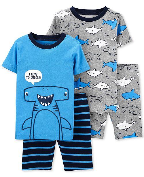 Carter's Toddler Boys 4-Pc. Shark-Print Cotton Pajamas Set