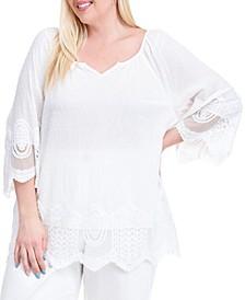 Plus Size Lace-Trim Striped Top