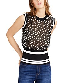 Sheer Dot-Print Mixed-Media Tank Sweater, Created for Macy's