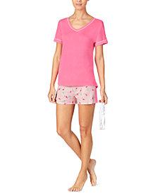 Cuddl Duds T-Shirt & Printed Boxer Shorts Pajama Set