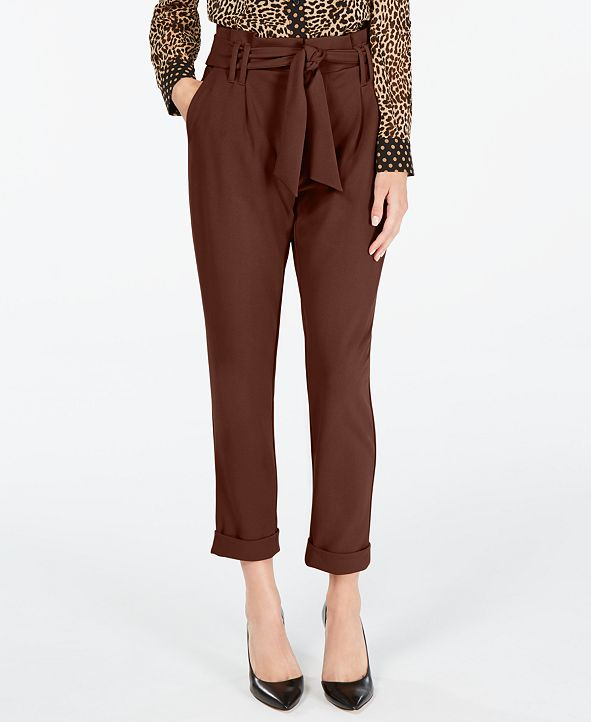 INC International Concepts INC Tapered-Leg Paperbag Pants, Created for Macy's