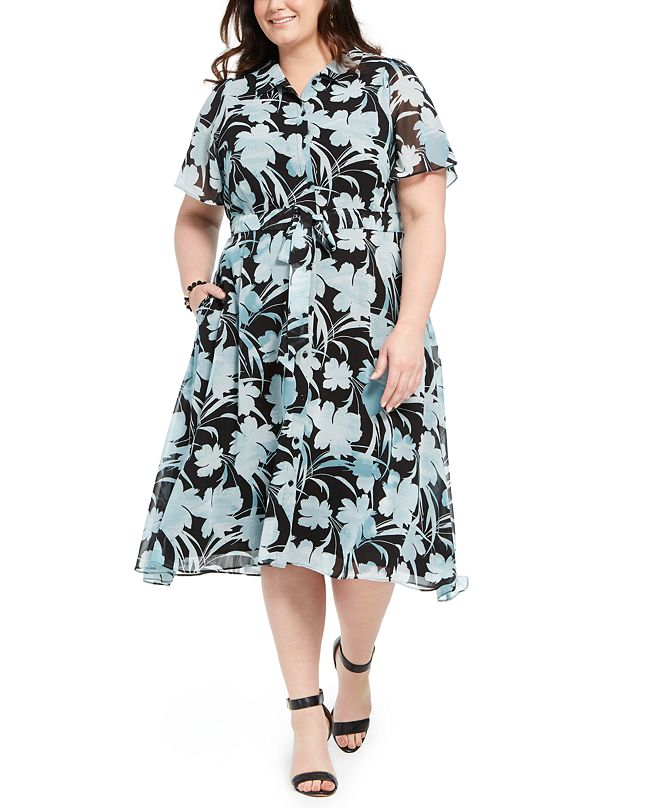 Alfani Plus Size Printed Shirtdress, Created for Macy's