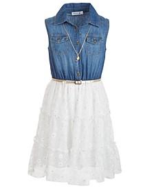 Big Girls Denim & Lace Shirtwaist Dress