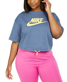 Plus Size Logo-Print Cropped Top