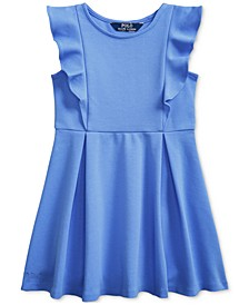 Little Girls Ruffled Stretch Ponte Dress