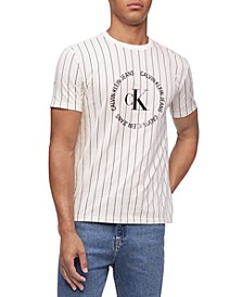 Men's Pinstripe Monogram Logo Graphic Tee