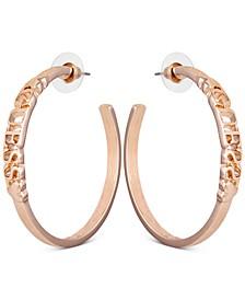 """Gold-Tone Medium Logo C-Hoop Earrings, 1.75"""""""