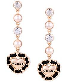 Gold-Tone Crystal & Imitation Pearl Woven Logo Heart Linear Drop Earrings
