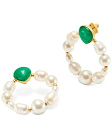 Gold-Tone Semi-Precious Stone & Imitation Pearl Door Knocker Earrings