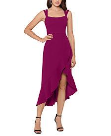 XSCAPE Double-Strap High-Low Midi Dress