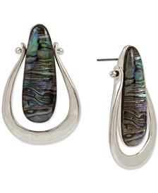 Silver-Tone Abalone-Look Sculptural Earrings