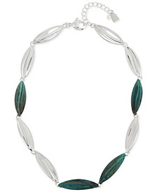 "Silver-Tone & Patina-Finish Leaf Collar Necklace, 18"" + 2"" extender"