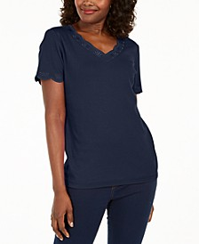 Plus Size Scallop-Trim Cotton Top, Created for Macy's
