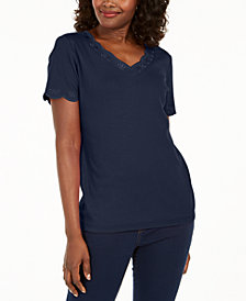 Karen Scott Plus Size Scallop-Trim Cotton Top, Created for Macy's