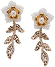 Gold-Tone Pavé & Imitation Pearl Flower Linear Drop Earrings