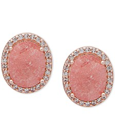Gold-Tone Crystal & Stone Oval Stud Earrings