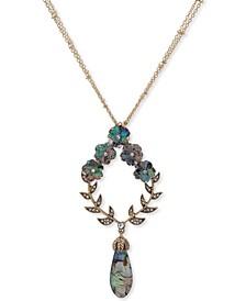 "Gold-Tone Flower Stone Pendant 34"" Long Necklace"