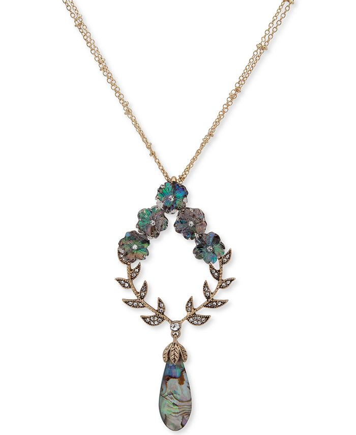"""lonna & lilly - Gold-Tone Flower Stone Pendant 34"""" Long Necklace"""